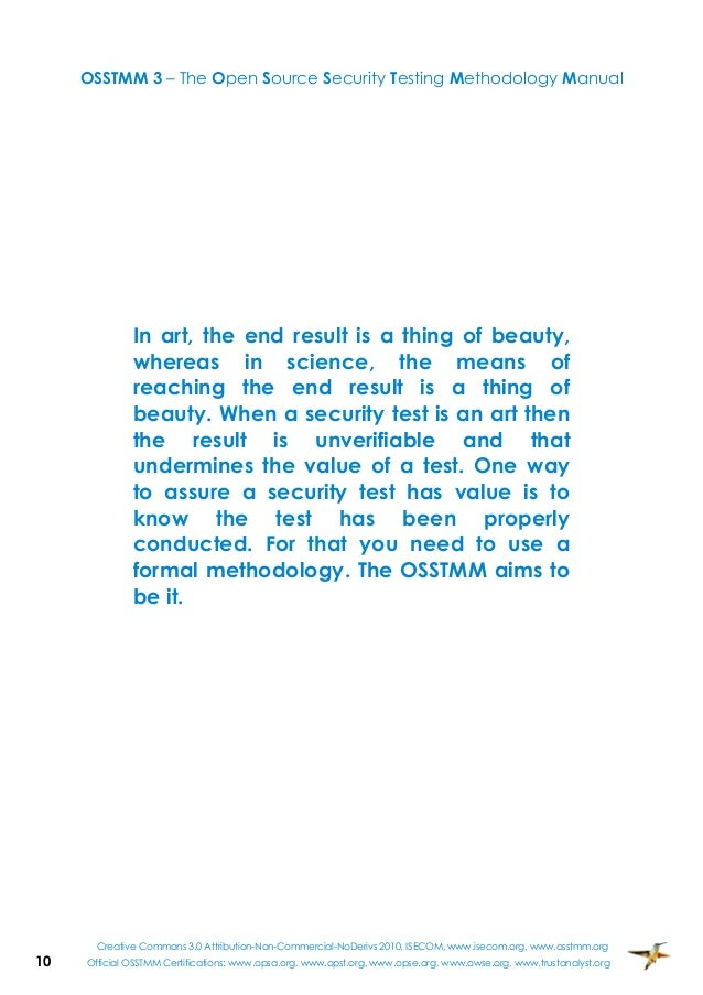 Open source security testing methodology manual osstmm
