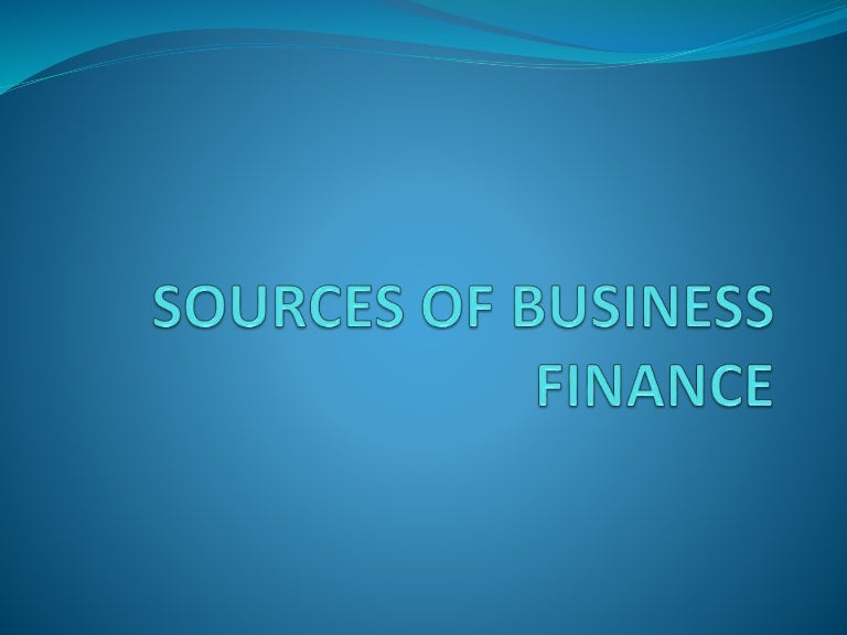 Sources of finance for a business pdf